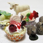カップケーキと動物